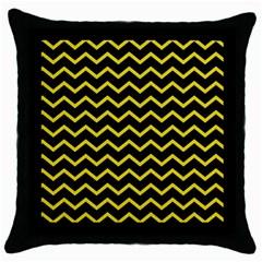 Yellow Chevron Throw Pillow Case (black)