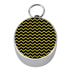 Yellow Chevron Mini Silver Compasses