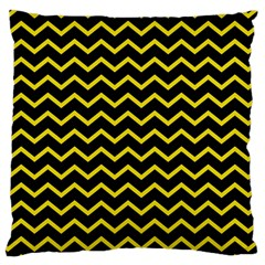Yellow Chevron Large Flano Cushion Case (two Sides)
