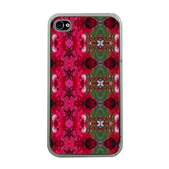 Christmas Colors Wrapping Paper Design Apple Iphone 4 Case (clear)