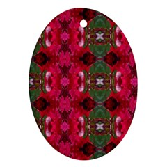 Christmas Colors Wrapping Paper Design Ornament (oval)