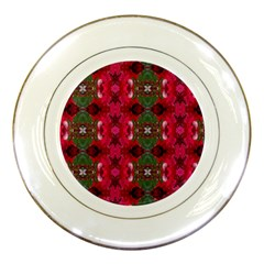 Christmas Colors Wrapping Paper Design Porcelain Plates