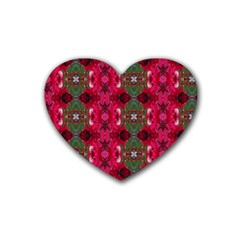 Christmas Colors Wrapping Paper Design Heart Coaster (4 Pack)