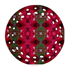 Christmas Colors Wrapping Paper Design Round Filigree Ornament (two Sides)