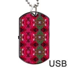 Christmas Colors Wrapping Paper Design Dog Tag Usb Flash (two Sides)