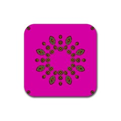 Sweet Hearts In  Decorative Metal Tinsel Rubber Coaster (square)
