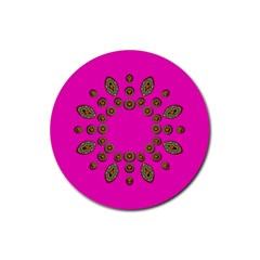 Sweet Hearts In  Decorative Metal Tinsel Rubber Round Coaster (4 Pack)