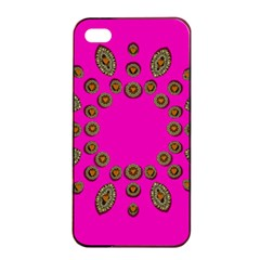 Sweet Hearts In  Decorative Metal Tinsel Apple Iphone 4/4s Seamless Case (black)