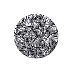 Fractal Sketch Light Rubber Round Coaster (4 Pack)
