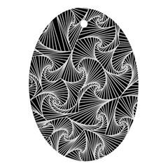 Fractal Sketch Dark Ornament (oval)