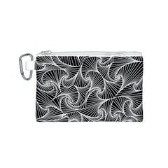 Fractal Sketch Dark Canvas Cosmetic Bag (s)