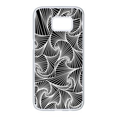Fractal Sketch Dark Samsung Galaxy S7 Edge White Seamless Case