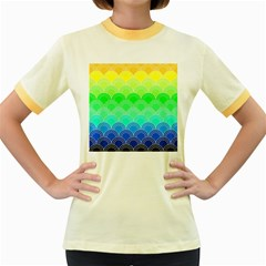 Art Deco Rain Bow Women s Fitted Ringer T Shirts