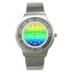 Art Deco Rain Bow Stainless Steel Watch