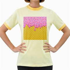 Strawberry Ice Cream Women s Fitted Ringer T Shirts