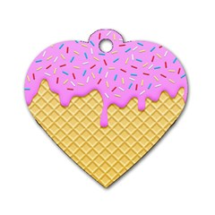 Strawberry Ice Cream Dog Tag Heart (one Side)
