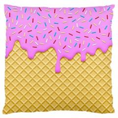 Strawberry Ice Cream Large Flano Cushion Case (one Side)