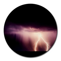 Storm Weather Lightning Bolt Round Mousepads