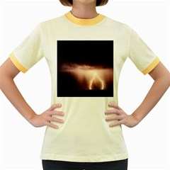Storm Weather Lightning Bolt Women s Fitted Ringer T Shirts