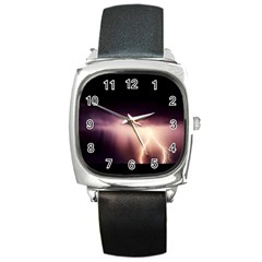 Storm Weather Lightning Bolt Square Metal Watch