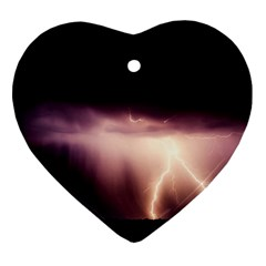 Storm Weather Lightning Bolt Heart Ornament (two Sides)