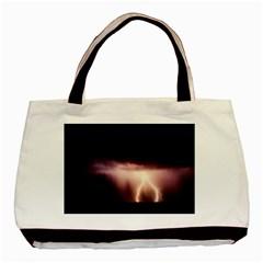 Storm Weather Lightning Bolt Basic Tote Bag (two Sides)