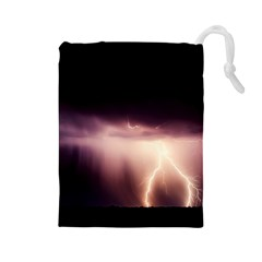 Storm Weather Lightning Bolt Drawstring Pouches (large)