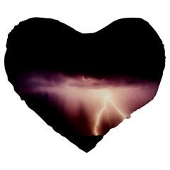 Storm Weather Lightning Bolt Large 19  Premium Flano Heart Shape Cushions