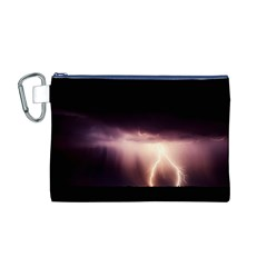 Storm Weather Lightning Bolt Canvas Cosmetic Bag (m)