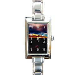India Sunset Sky Clouds Mountains Rectangle Italian Charm Watch