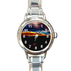 India Sunset Sky Clouds Mountains Round Italian Charm Watch