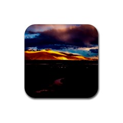India Sunset Sky Clouds Mountains Rubber Coaster (square)
