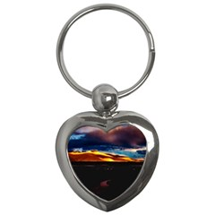 India Sunset Sky Clouds Mountains Key Chains (heart)