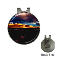 India Sunset Sky Clouds Mountains Hat Clips With Golf Markers
