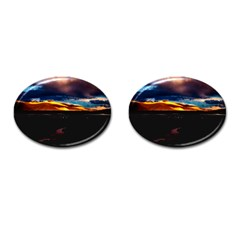 India Sunset Sky Clouds Mountains Cufflinks (oval)