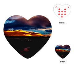 India Sunset Sky Clouds Mountains Playing Cards (heart)