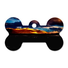 India Sunset Sky Clouds Mountains Dog Tag Bone (one Side)