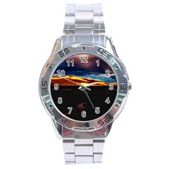 India Sunset Sky Clouds Mountains Stainless Steel Analogue Watch