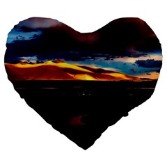 India Sunset Sky Clouds Mountains Large 19  Premium Heart Shape Cushions