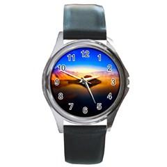 Crater Lake Oregon Mountains Round Metal Watch