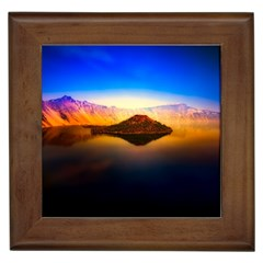 Crater Lake Oregon Mountains Framed Tiles
