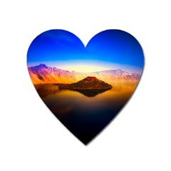 Crater Lake Oregon Mountains Heart Magnet