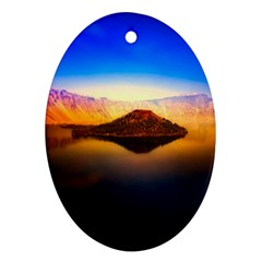 Crater Lake Oregon Mountains Oval Ornament (two Sides)