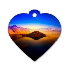 Crater Lake Oregon Mountains Dog Tag Heart (two Sides)