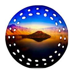 Crater Lake Oregon Mountains Round Filigree Ornament (two Sides)