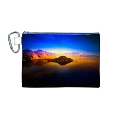 Crater Lake Oregon Mountains Canvas Cosmetic Bag (m)