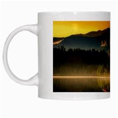 Bled Slovenia Sunrise Fog Mist White Mugs