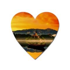 Bled Slovenia Sunrise Fog Mist Heart Magnet