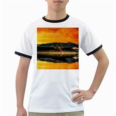 Bled Slovenia Sunrise Fog Mist Ringer T Shirts