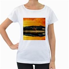 Bled Slovenia Sunrise Fog Mist Women s Loose Fit T Shirt (white)